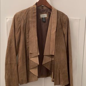Genuine leather suede draped jacket